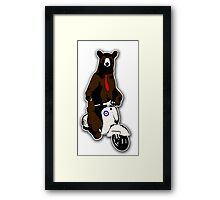 Brown bear with a red tie riding a moped Framed Print