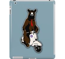 Brown bear with a red tie riding a moped iPad Case/Skin
