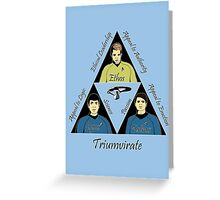 Star Trek Triumvirate - Black Text for Light shirts Greeting Card