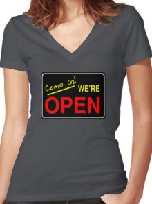 Come in! We're Open by Chillee Wilson Women's Fitted V-Neck T-Shirt