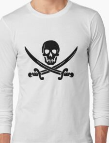 Pirate Flag Skull and Crossed Swords by Chillee Wilson Long Sleeve T-Shirt