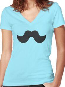 Mustache Women's Fitted V-Neck T-Shirt