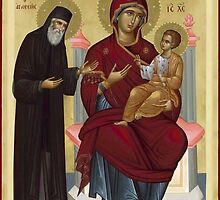 Virgin Mary orthodox panagia icon St Paisios  by Royalcollector