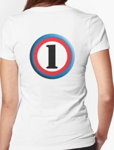 NUMBER 1, Roundel, TEAM SPORTS, FIRST, ONE, 1, Numero Uno, Competition, White on Black T-Shirt