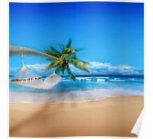Palm tree on Exotic Beach Poster