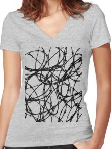 Razor Wire by Chillee Wilson Women's Fitted V-Neck T-Shirt