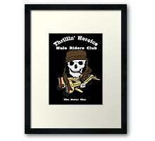 Thrillin' Heroics Mule Riders Club logo - white font Framed Print