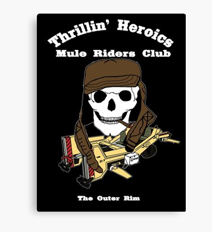 Thrillin' Heroics Mule Riders Club logo - white font Canvas Print