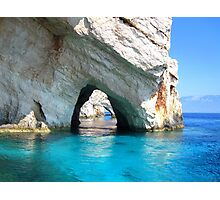 Azure Blue Arches - Zante, Greece. Photographic Print