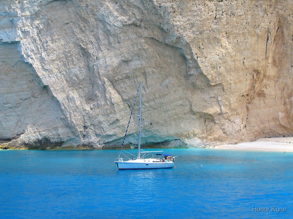 Boat on Blue, Shipwreck Beach by Honor Kyne