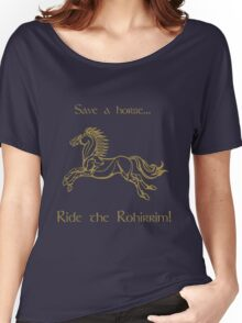Save a horse... Ride the Rohirrim! - Tan Women's Relaxed Fit T-Shirt
