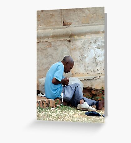 Rolling a smoke, disused church, Trinidad, Cuba Greeting Card