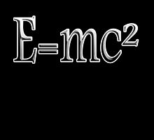 EINSTEIN, E=MC2, Mass x Energy, Squared, On Black, Mass, Energy Equivalence, Equation, Albert Einstein,  by TOM HILL - Designer