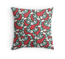 Crazy tangle doodle sea waves pattern Throw Pillow