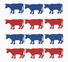 RED WHITE AND BLUE COWS One Piece - Short Sleeve