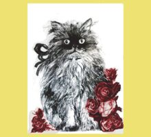KITTEN WITH RED ROSES ,Black and White Kids Clothes