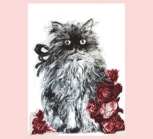 KITTEN WITH RED ROSES ,Black and White Baby Tee
