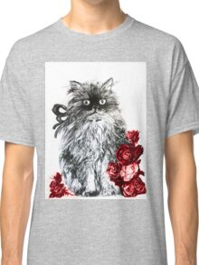 KITTEN WITH RED ROSES ,Black and White Classic T-Shirt