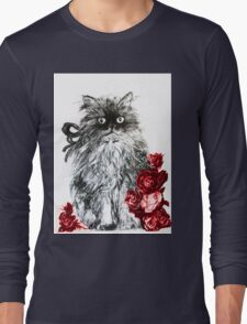 KITTEN WITH RED ROSES ,Black and White Long Sleeve T-Shirt