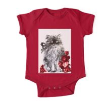 KITTEN WITH RED ROSES ,Black and White One Piece - Short Sleeve