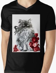KITTEN WITH RED ROSES ,Black and White Mens V-Neck T-Shirt