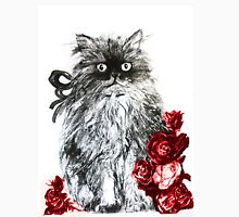 KITTEN WITH RED ROSES ,Black and White T-Shirt