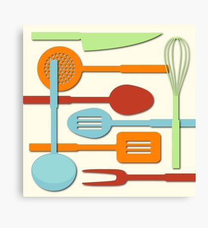Kitchen Colored Utensil Silhouettes on Cream III Canvas Print