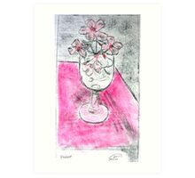 Pink Flowers in Glass Etching Art Print