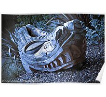 blue wooden dragon head carving Poster