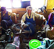 Tibetan women spinning yarn by Annaleah