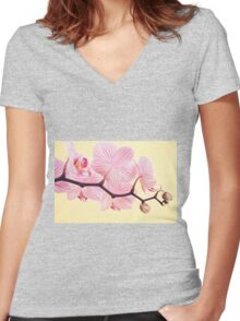 Pink phalaenopsis orchid blossoms Women's Fitted V-Neck T-Shirt