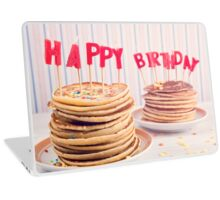Pancakes piled up decorated with birthday candles Laptop Skin