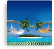 Beach hammocks  Canvas Print