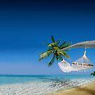 Beach hammocks in Bora Bora by Bruno Beach