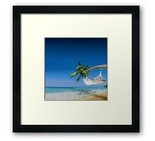 Beach hammocks in Bora Bora Framed Print
