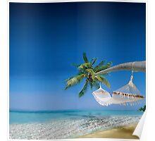 Beach hammocks in Bora Bora Poster