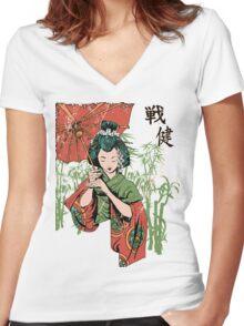 Japan girl Women's Fitted V-Neck T-Shirt