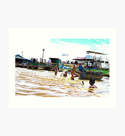 Boys playing in the river, Siem Reap Art Print