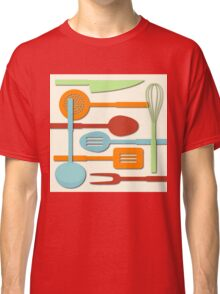Kitchen Colored Utensil Silhouettes on Cream III Classic T-Shirt