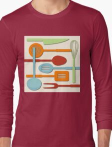 Kitchen Colored Utensil Silhouettes on Cream III Long Sleeve T-Shirt