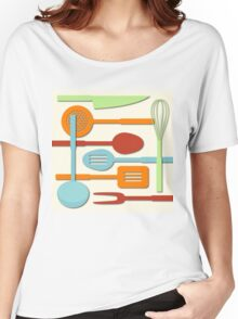 Kitchen Colored Utensil Silhouettes on Cream III Women's Relaxed Fit T-Shirt