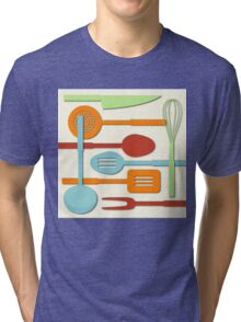 Kitchen Colored Utensil Silhouettes on Cream III Tri-blend T-Shirt