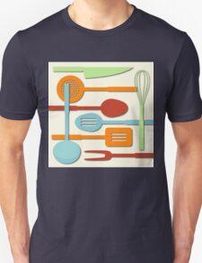 Kitchen Colored Utensil Silhouettes on Cream III Unisex T-Shirt