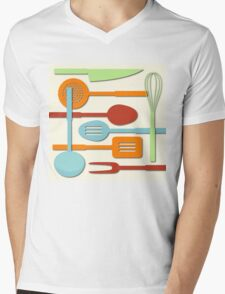 Kitchen Colored Utensil Silhouettes on Cream III Mens V-Neck T-Shirt
