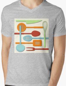 Kitchen Colored Utensil Silhouettes on Cream III Mens V-Neck T-Shirt