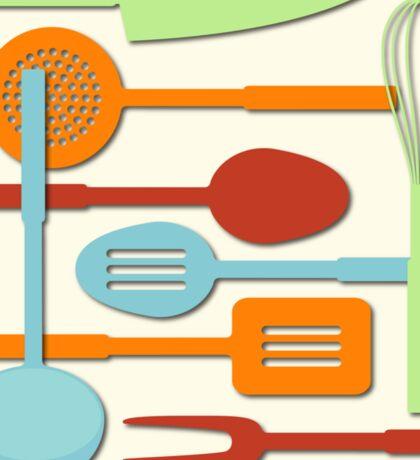 Kitchen Colored Utensil Silhouettes on Cream III Sticker