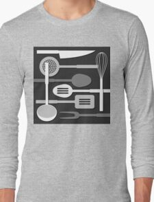 Kitchen Utensil Silhouettes Monochrome III Long Sleeve T-Shirt