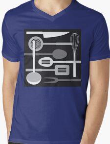 Kitchen Utensil Silhouettes Monochrome III Mens V-Neck T-Shirt