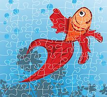 Red fish puzzle by Richard Laschon