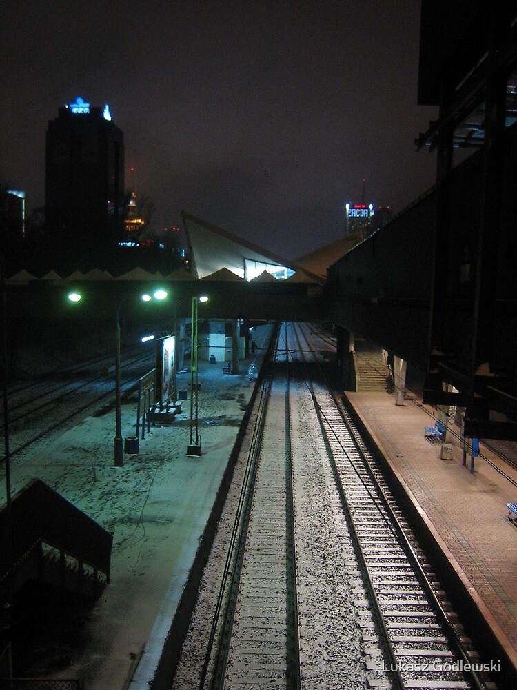 Warsaw modernist railway station by night by Lukasz Godlewski